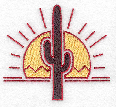 Embroidery Design: Cactus with sun 3.87w X 3.53h