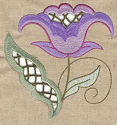 Embroidery Design: Cutwork flower H 4.54w X 4.96h
