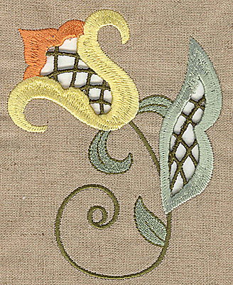 Embroidery Design: Cutwork flower T 3.95w X 4.99h