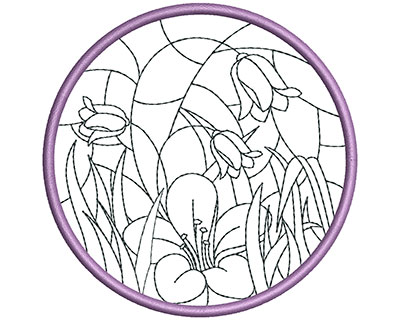 Embroidery Design: Stain Glass Sun Catcher 5 3.98w X 3.98h