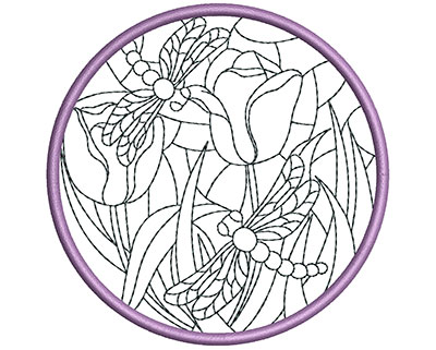 Embroidery Design: Stain Glass Sun Catcher 7 3.98w X 3.98h