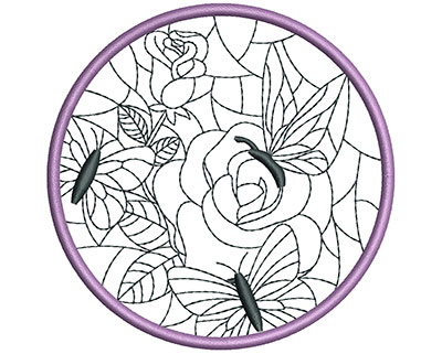 Embroidery Design: Stain Glass Sun Catcher 83.98w X 3.98h