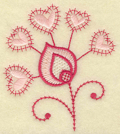 Embroidery Design: Floral hearts 3.37w X 3.83h