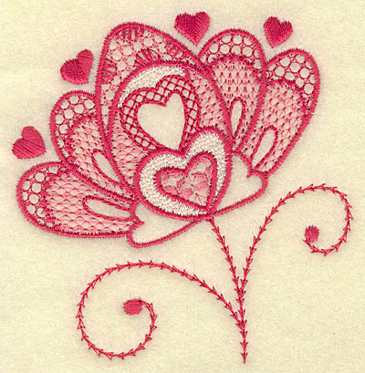 Embroidery Design: Floral hearts 3.61w X 3.80h