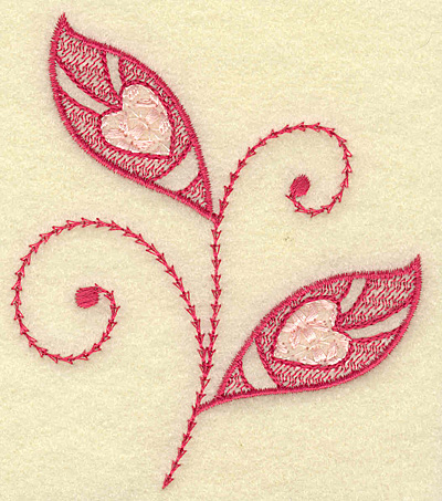 Embroidery Design: Hearts and leaves 3.33w X 3.83h