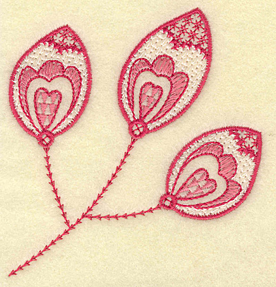 Embroidery Design: Hearts and leaf trio 3.62w X 3.83h