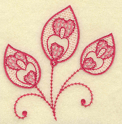 Embroidery Design: Heart swirls and leaf trio 3.70w X 3.84h