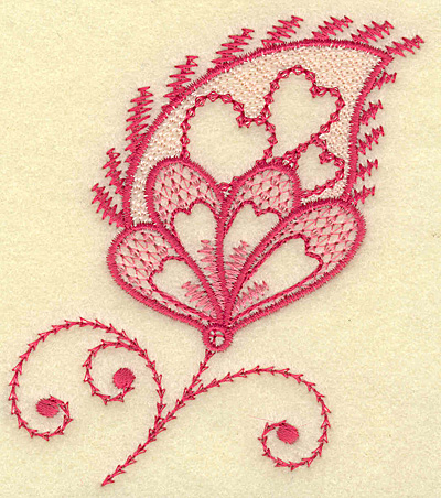 Embroidery Design: Floral heart and swirls 3.44w X 3.87h
