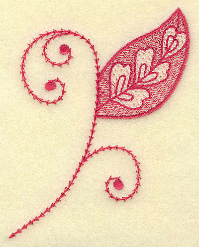 Embroidery Design: Leaf hearts and swirls 2.95w X 3.87h