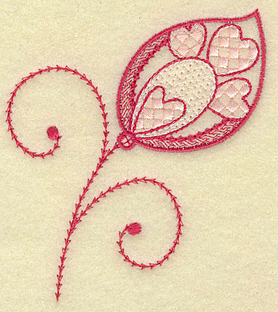 Embroidery Design: Leaf hearts and swirls 3.38w X 3.85h