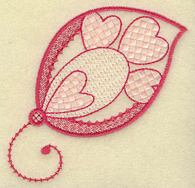 Embroidery Design: Large leaf and hearts 3.68w X 3.71h