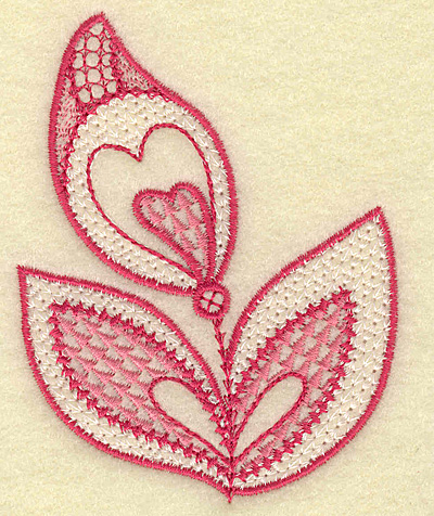 Embroidery Design: Trio of leaves and hearts 2.90w X 3.71h
