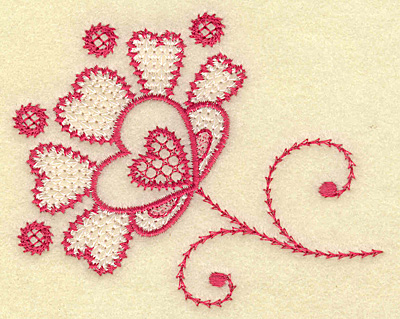 Embroidery Design: Floral hearts and swirls 3.85w X 3.08h