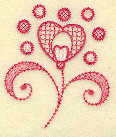 Embroidery Design: Floral hearts and swirls 3.30w X 3.86h