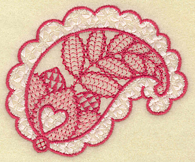 Embroidery Design: Hearts in leaf 3.58w X 3.03h