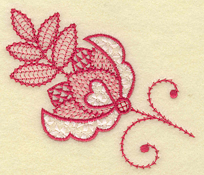 Embroidery Design: Floral hearts and leaves 3.13w X 3.84h