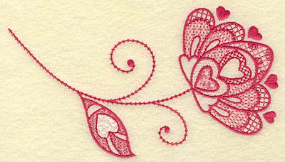 Embroidery Design: Floral hearts and leaf medium 6.88w X 3.79h