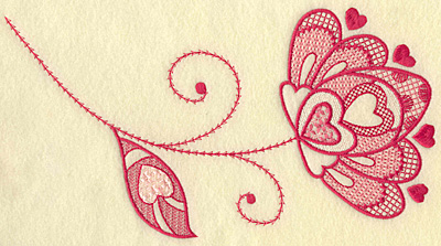 Embroidery Design: Floral hearts and leaf jumbo 10.31w X 5.68h