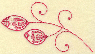 Embroidery Design: Leaves hearts and swirls medium 6.86w X 3.72h