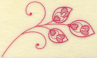 Embroidery Design: Hearts and leaves trio medium 6.91w X 4.11h