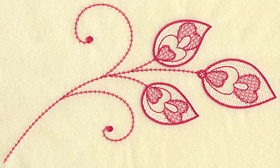 Embroidery Design: Hearts and leaves trio jumbo 10.37w X 6.17h