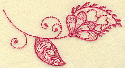 Embroidery Design: Floral hearts leaf and swirls medium 6.76w X 3.68h