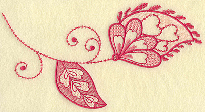 Embroidery Design: Floral hearts leaf and swirls jumbo 10.13w X 5.52h