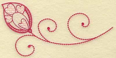 Embroidery Design: Hearts leaf and swirls medium 6.89w X 3.38h