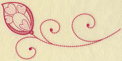 Embroidery Design: Hearts leaf and swirls jumbo 10.34w X 5.07h