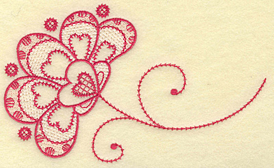 Embroidery Design: Floral hearts medium 6.92w X 4.11h