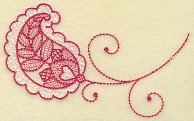 Embroidery Design: Heart in leaf medium 6.87w X 4.36h