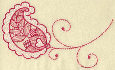 Embroidery Design: Heart in leaf jumbo 10.31w X 6.53h