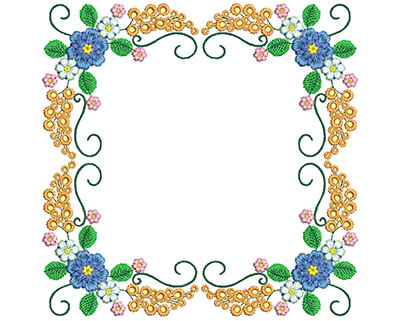 Embroidery Design: Sweet Heart Floral Blocks 1 7.27w X 7.23h