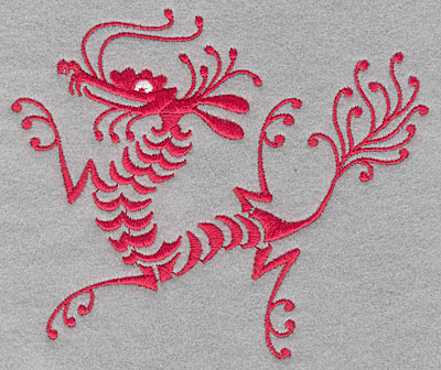 "Embroidery Design: Dragon  4.15""h x 4.91""w"