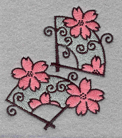 """Embroidery Design: Floral fans large  3.00""""h x 2.45""""w"""