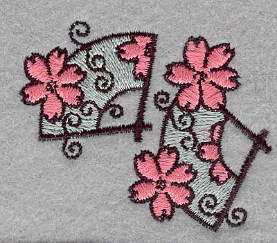 """Embroidery Design: Floral fans small  1.87""""h x 2.27""""w"""