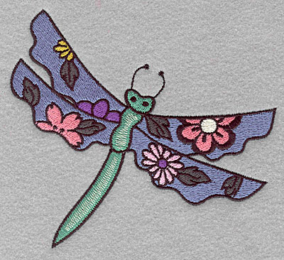 """Embroidery Design: Dragonfly floral  4.50""""h x 5.00""""w"""