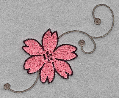 """Embroidery Design: Asian flower A small  2.88""""h x 3.69""""w"""