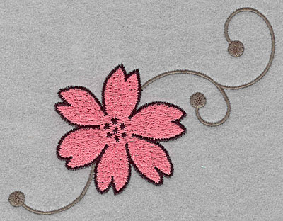 """Embroidery Design: Asian flower A large  3.91""""h x 5.00""""w"""