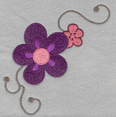 """Embroidery Design: Asian flowers large  5.00""""h x 4.53""""w"""