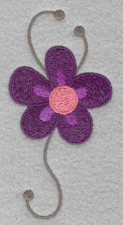 """Embroidery Design: Asian flower D small  3.90""""h x 1.93""""w"""