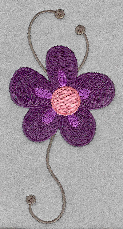 """Embroidery Design: Asian flower D large  5.00""""h x 2.47""""w"""