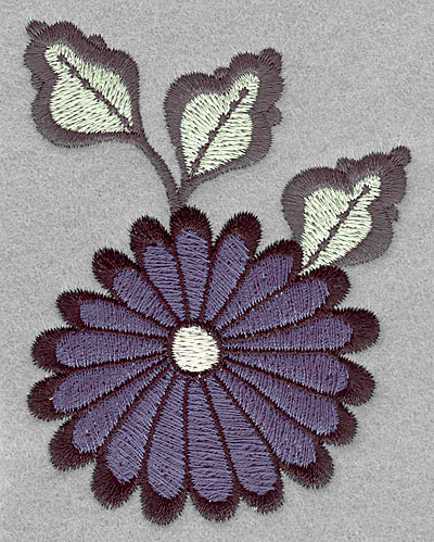 """Embroidery Design: Asian flower blue small  3.49""""h x 3.49""""w"""