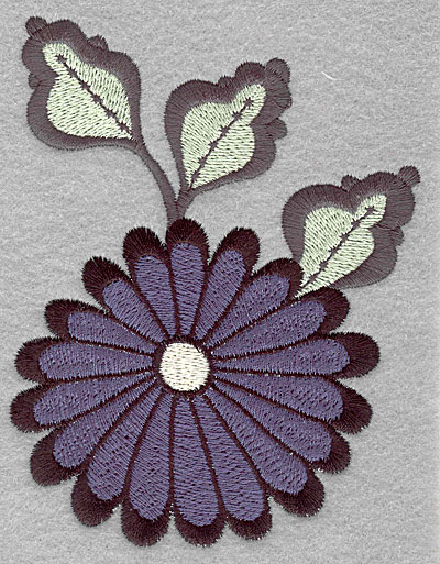 """Embroidery Design: Asian flower blue large  5.00""""h x 3.85""""w"""