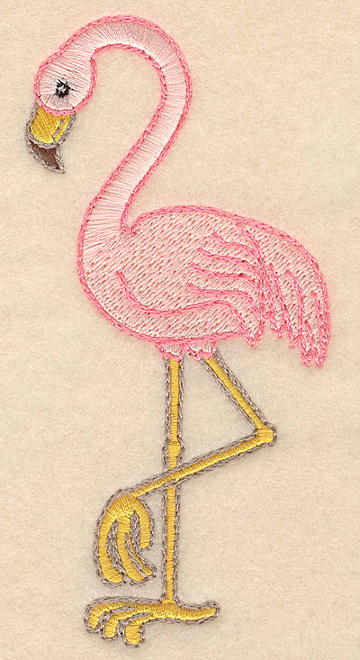 """Embroidery Design: Flamingo large 2.40""""w X 4.98""""h"""