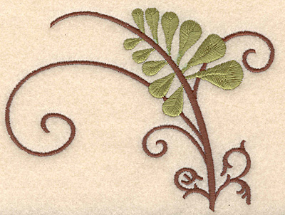 """Embroidery Design: Fern with brown swirl large 5.00""""w X 3.78""""h"""