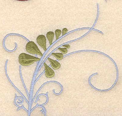 """Embroidery Design: Fern with blue swirl large 5.00""""`w X 4.91""""h"""