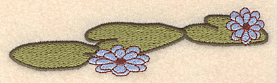 """Embroidery Design: Lily pads with flowers large 5.00""""w X 1.24""""h"""