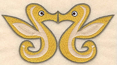 "Embroidery Design: Seahorses kissing small 4.99""w X 2.67""h"