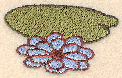 """Embroidery Design: Lily pad with flower small 2.95""""w X 1.80""""h"""